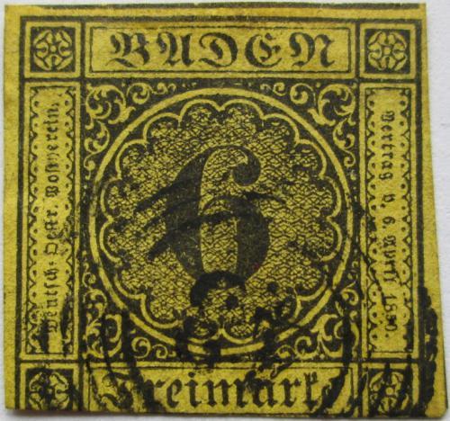 Poštovní známka Bádensko 1854 Nominální hodnota Mi# 7 Kat 35€