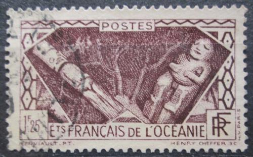 Poštovní známka Francouzská Oceánie 1934 Døevìná soška Mi# 113 Kat 10€