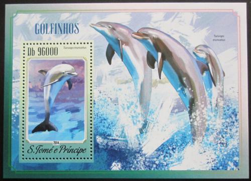 Poštovní známka Svatý Tomáš 2014 Delfíni Mi# Block 1038 Kat 10€