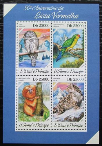 Poštovní známky Svatý Tomáš 2014 Ohrožená fauna Mi# 5534-37 Kat 10€