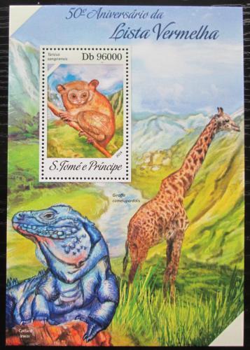 Poštovní známka Svatý Tomáš 2014 Ohrožená fauna Mi# Block 966 Kat 10€