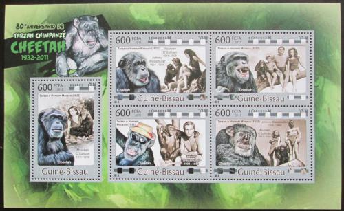 Poštovní známky Guinea-Bissau 2012 Tarzan, šimpanz Mi# 5828-32 Kat 12€