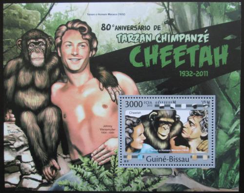 Poštovní známka Guinea-Bissau 2012 Tarzan, šimpanz Mi# Block 1029 Kat 12€