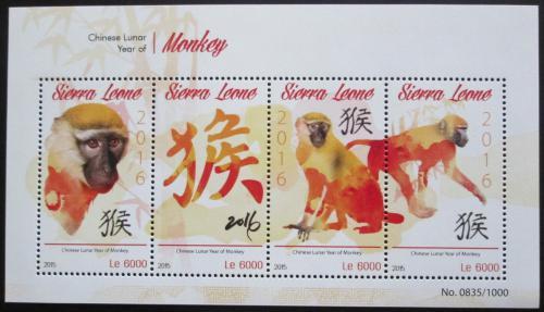 Poštovní známky Sierra Leone 2015 Èínský nový rok,rok opice Mi# 6697-6700 Kat 11€