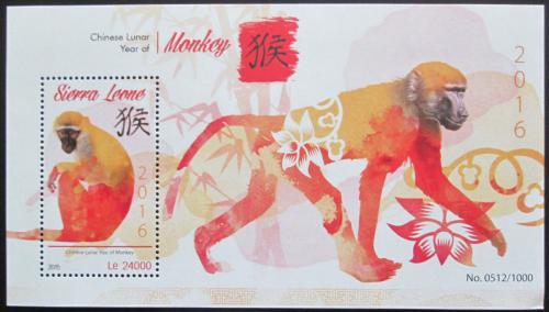 Poštovní známka Sierra Leone 2015 Èínský nový rok,rok opice Mi# Block 872 Kat 11€