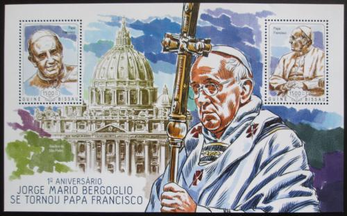Poštovní známka Guinea-Bissau 2014 Papež František Mi# Block 1252 Kat 12€
