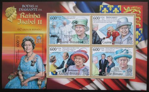 Poštovní známky Guinea-Bissau 2012 Královna Alžbìta II. Mi# 5834-38 Kat 12€