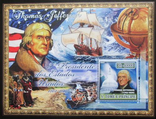 Poštovní známka Svatý Tomáš 2007 Prezident Thomas Jefferson Mi# Block 579 Kat 11€