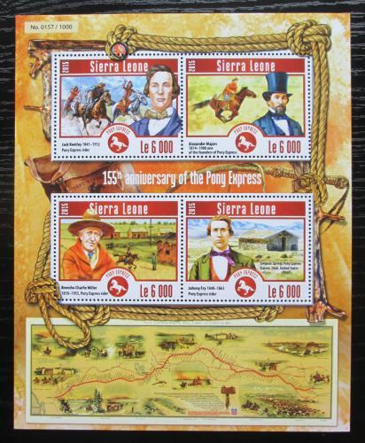 Poštovní známky Sierra Leone 2015 Pony Express, 155. výroèí Mi# 6219-22 Kat 11€