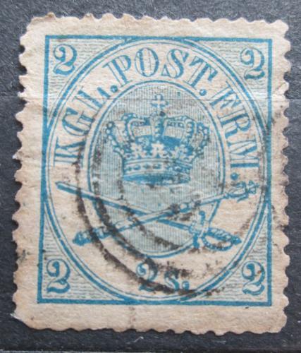 Poštovní známka Dánsko 1865 Královský znak Mi# 11 a Kat 40€