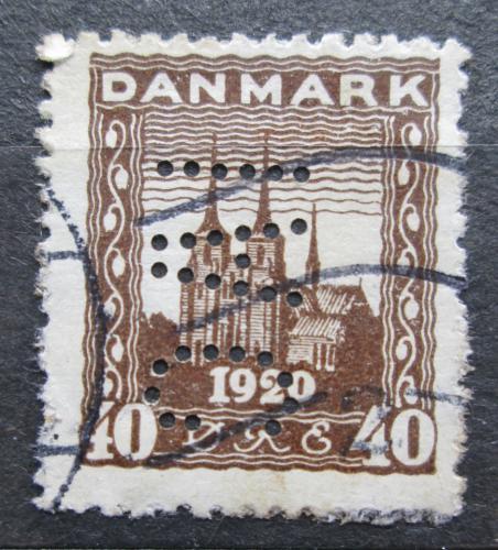 Poštovní známka Dánsko 1920 Katedrála v Roskilde perfin Mi# 112 Kat 4.50€
