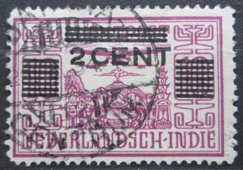 Poštovní známka Nizozemská Indie 1934 Letadlo nad chrámem pøetisk Mi# 200