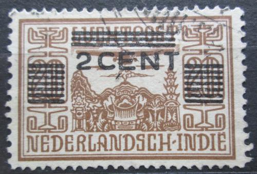 Poštovní známka Nizozemská Indie 1934 Letadlo nad chrámem pøetisk Mi# 201