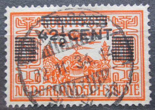 Poštovní známka Nizozemská Indie 1934 Letadlo nad chrámem pøetisk Mi# 204