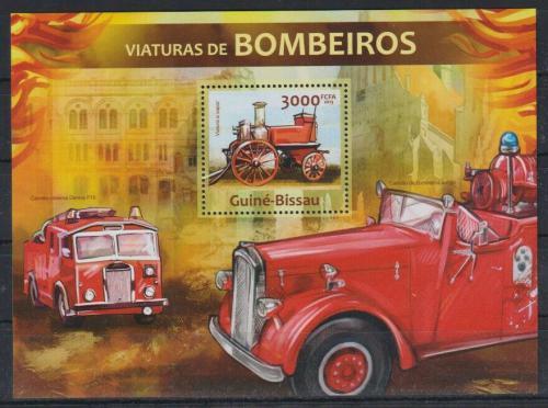 Poštovní známka Guinea-Bissau 2013 Historická hasièská auta Mi# Block 1159 Kat 12€