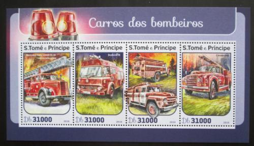 Poštovní známky Svatý Tomáš 2016 Hasièská auta Mi# 6891-94 Kat 12€