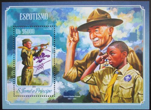 Poštovní známka Svatý Tomáš 2014 Skauti, Baden-Powell Mi# Block 1026 Kat 10€