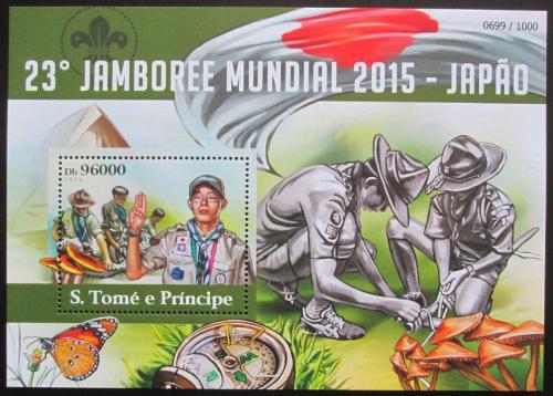 Poštovní známka Svatý Tomáš 2015 Skautské jamboree Mi# Block 1109 Kat 10€