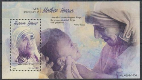 Poštovní známka Sierra Leone 2015 Matka Tereza Mi# Block 859 Kat 11€