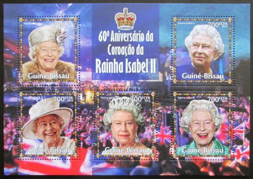 Poštovní známky Guinea-Bissau 2013 Královna Alžbìta II. Mi# 6766-70 Kat 14€