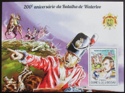 Poštovní známka Guinea-Bissau 2015 Bitva u Waterloo, Napoleon Mi# Bl 1341 Kat 9€