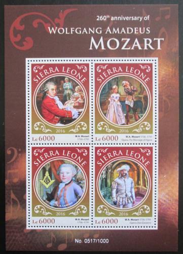 Poštovní známky Sierra Leone 2016 Wolfgang Amadeus Mozart Mi# 6918-21 Kat 11€