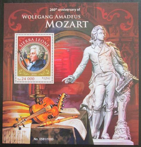 Poštovní známka Sierra Leone 2016 Wolfgang Amadeus Mozart Mi# Block 916 Kat 11€