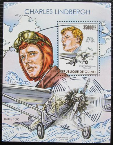 Poštovní známka Guinea 2015 Charles Lindbergh, letadla Mi# Block 2564 Kat 14€