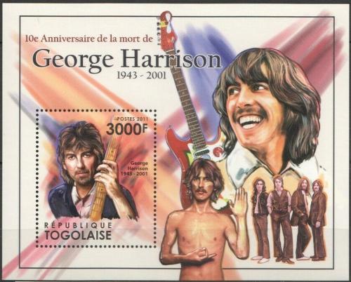 Poštovní známka Togo 2011 George Harrison, The Beatles Mi# Block 619 Kat 12€