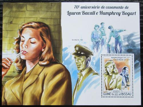 Poštovní známka Guinea-Bissau 2015 Lauren Bacall a Humphrey Bogart Mi# Block 1333 Kat 13€