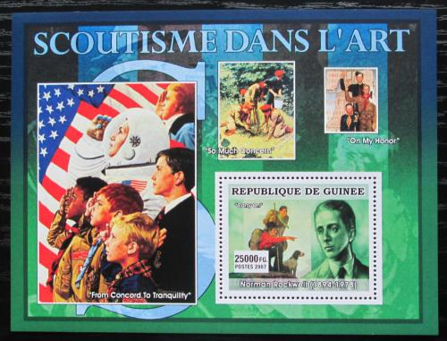 Poštovní známka Guinea 2007 Skauti a umìní, Norman Rockwell Mi# Block 1253