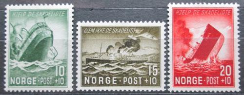 Poštovní známky Norsko 1944 Potopené poštovní lodì Mi# 295-97