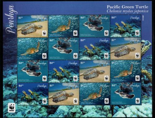 Poštovní známky Penrhyn 2014 Kareta obrovská japonská, WWF Mi# 761-64 Kat 50€