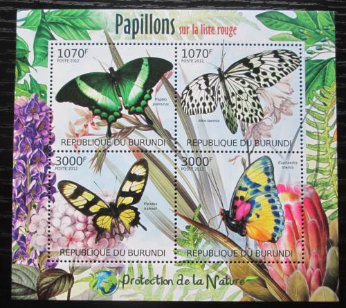 Poštovní známky Burundi 2012 Motýli Mi# 2540-43 Bogen Kat 10€