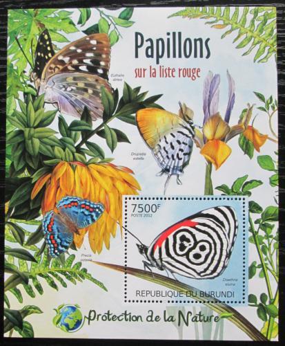 Poštovní známka Burundi 2012 Motýli Mi# Block 232 Kat 9€