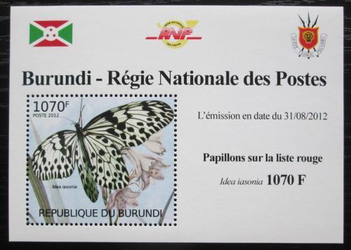 Poštovní známka Burundi 2012 Motýli DELUXE Mi# 2541 Block
