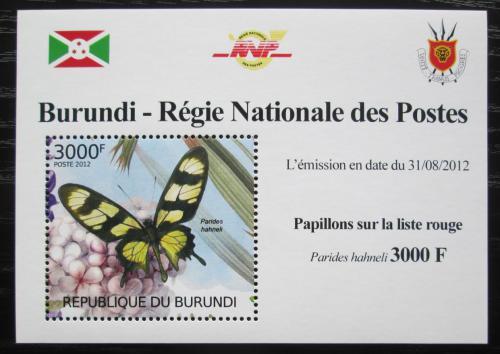 Poštovní známka Burundi 2012 Motýli DELUXE Mi# 2542 Block