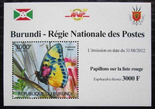 Poštovní známka Burundi 2012 Motýli DELUXE Mi# 2543 Block