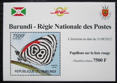 Poštovní známka Burundi 2012 Motýli DELUXE Mi# 2544 Block