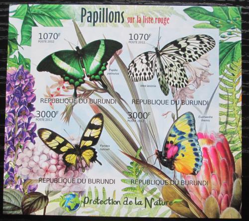 Poštovní známky Burundi 2012 Motýli neperf. Mi# 2540-43 B Bogen