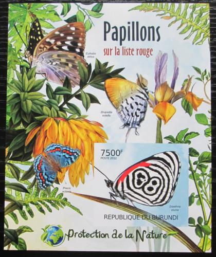 Poštovní známka Burundi 2012 Motýli neperf. Mi# Block 232 B