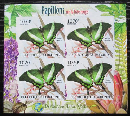 Poštovní známky Burundi 2012 Motýli neperf. Mi# 2540 B Block