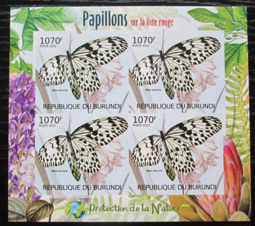 Poštovní známky Burundi 2012 Motýli neperf. Mi# 2541 B Block