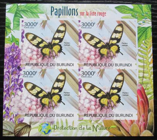 Poštovní známky Burundi 2012 Motýli neperf. Mi# 2542 B Block