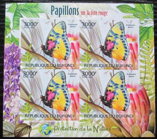 Poštovní známky Burundi 2012 Motýli neperf. Mi# 2543 B Block