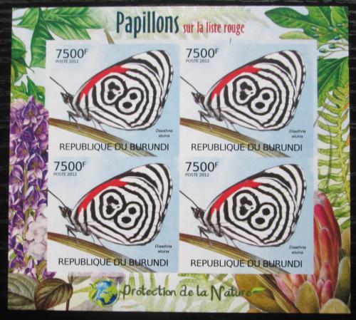 Poštovní známky Burundi 2012 Motýli neperf. Mi# 2544 B Block