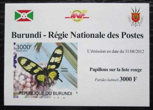 Poštovní známka Burundi 2012 Motýli neperf. Mi# 2542 B Block