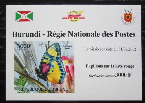 Poštovní známka Burundi 2012 Motýli neperf. Mi# 2543 B Block