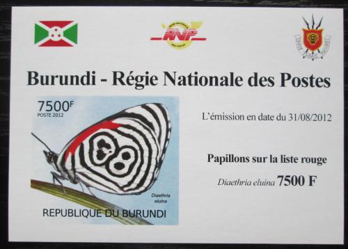 Poštovní známka Burundi 2012 Motýli neperf. Mi# 2544 B Block