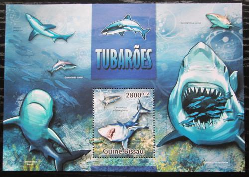 Poštovní známka Guinea-Bissau 2013 Žraloci Mi# Block 1184 Kat 11€